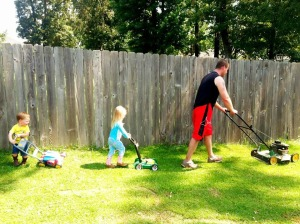 kids and josh mowing 2
